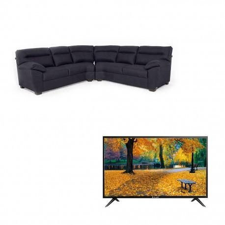 """Paquete de Sala Esquinera Galileo + Pantalla Alux 32"""" Smart TV HDFAMSA"""