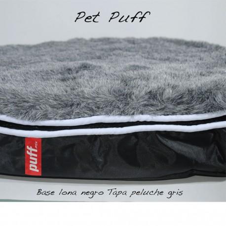 Pet Puff Mini: Base Lona Negro Peluche GrisPUFF MX