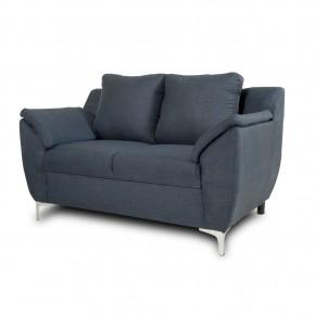 Love Seat Estilo Contemporáneo Tapizado en Lino Azul